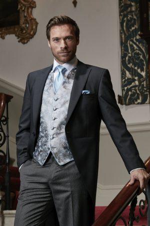 Black herringbone superfine wool morning suit with grey stripe trousers