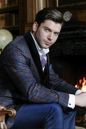 Tartan double-breasted smoking jacket with velvet shawl collar lapel