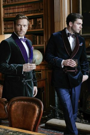 Double-breasted velvet smoking jackets