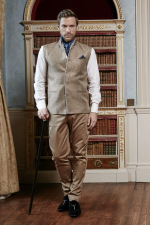 Beige basketweave silk and linen half coat