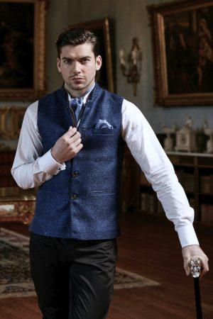 Blue basketweave silk and linen half coat