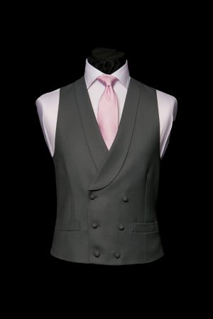 Charcoal grey double-breasted wool six button waistcoat