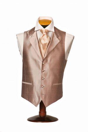 Grey dupion silk waistcoat with lapels