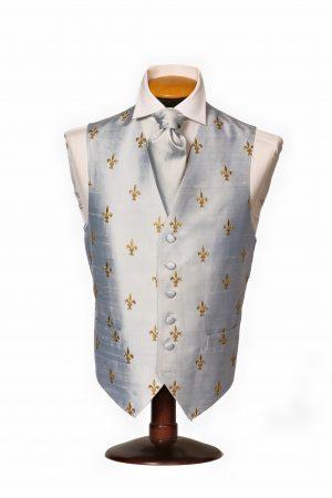 Ice blue silk dupion waistcoat with gold fleur de lis