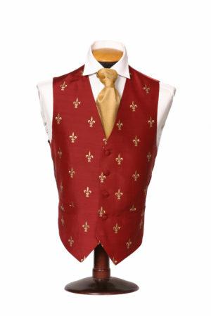 Burgundy silk waistcoat with gold fleur de Lis