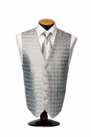 Silver diamond embroidered silk single breasted silk button waistcoat