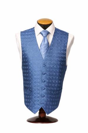 Blue diamond embroidered single breasted silk waistcoat