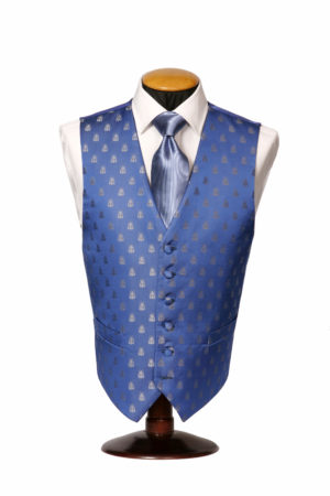 Electric blue silk waistcoat with a silver bees
