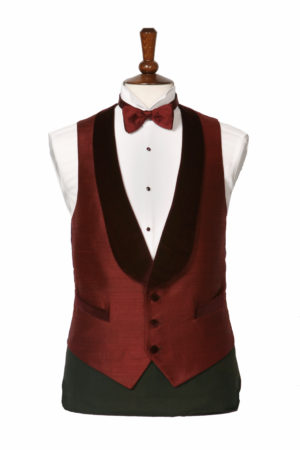 Burgundy silk dress waistcoat with a velvet shawl lapel