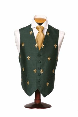 Green silk waistcoat with honey gold fleur de Lis