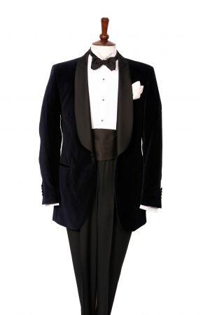 Black velvet shawl lapel dinner jacket