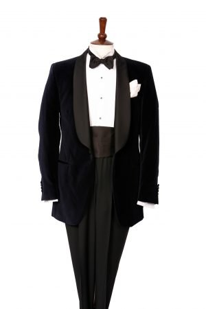 Black velvet shawl lapel dinner jacket with black silk satin lapel