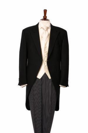 Black herringbone morning suit including waistcoat and grey stripe wool trousers