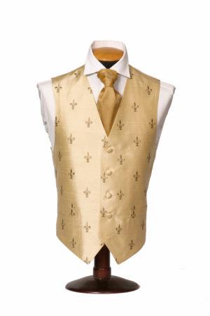Ivory silk fleur de Lis waistcoat with gold fleur de Lis
