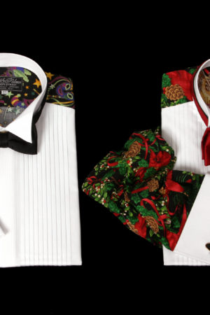 Men's fancy backs dress shirts with printed sleeves