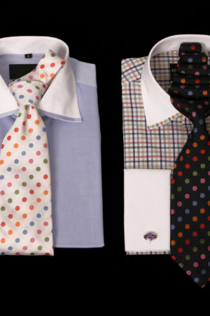 Twofold superfine cotton shirts with trim on the collar