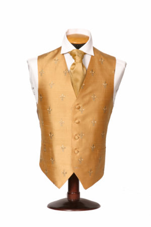 Gold silk embroidered waistcoat with gold fleur de Lis
