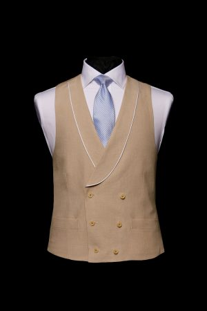 Beige fawn linen double-breasted waistcoat with piping