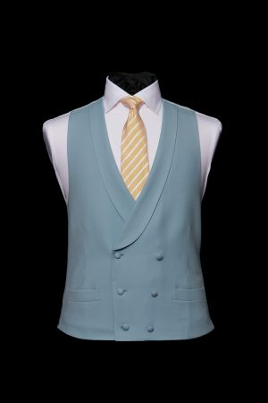 Duck-egg blue double-breasted six button wool waistcoat