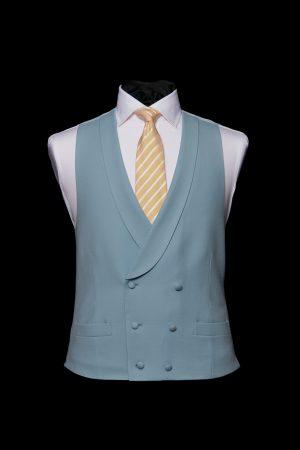 Duck egg blue wool double-breasted wool waistcoat
