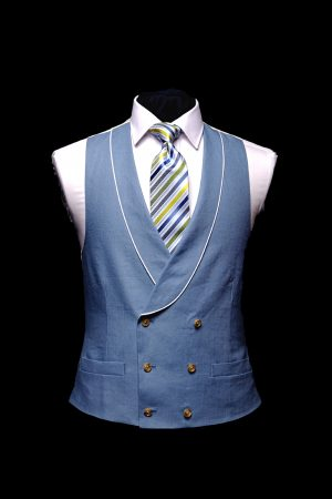 Blue linen double-breasted waistcoat with ivory piping