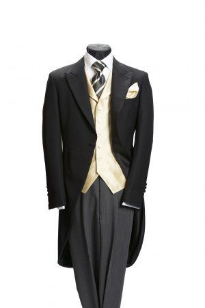 Plain black barathea lightweight wool morning suit