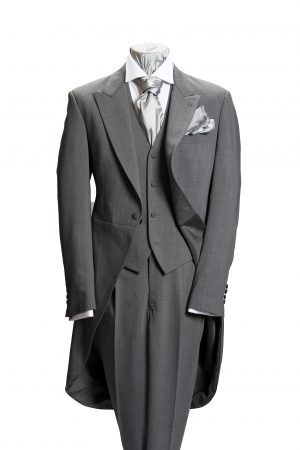 Light grey prince of wales three-piece wool morning suit
