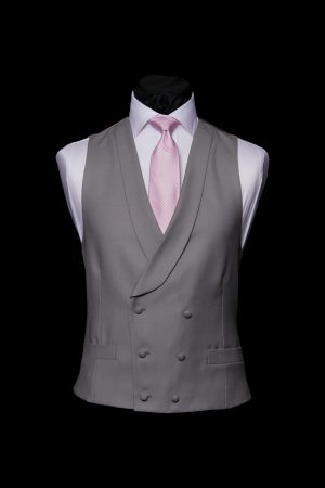 Dove grey wool double-breasted waistcoat