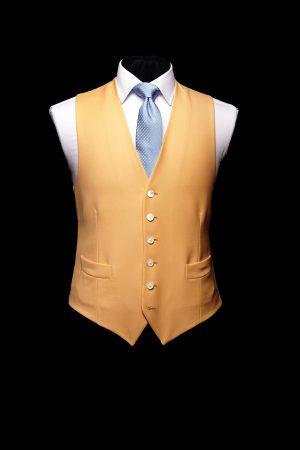 Yellow wool single-breasted waistcoat