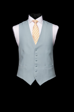 Duck egg blue single-breasted wool six button waistcoat