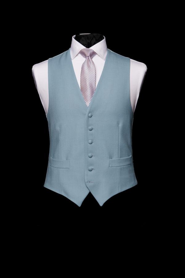 Single breasted cornflower blue wool waistcoat
