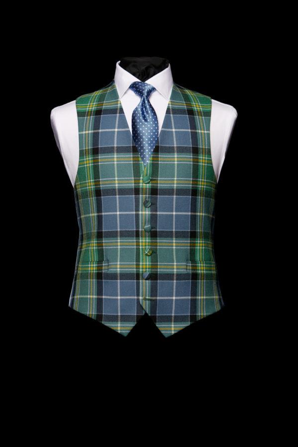 Blue and green tartan waistcoat
