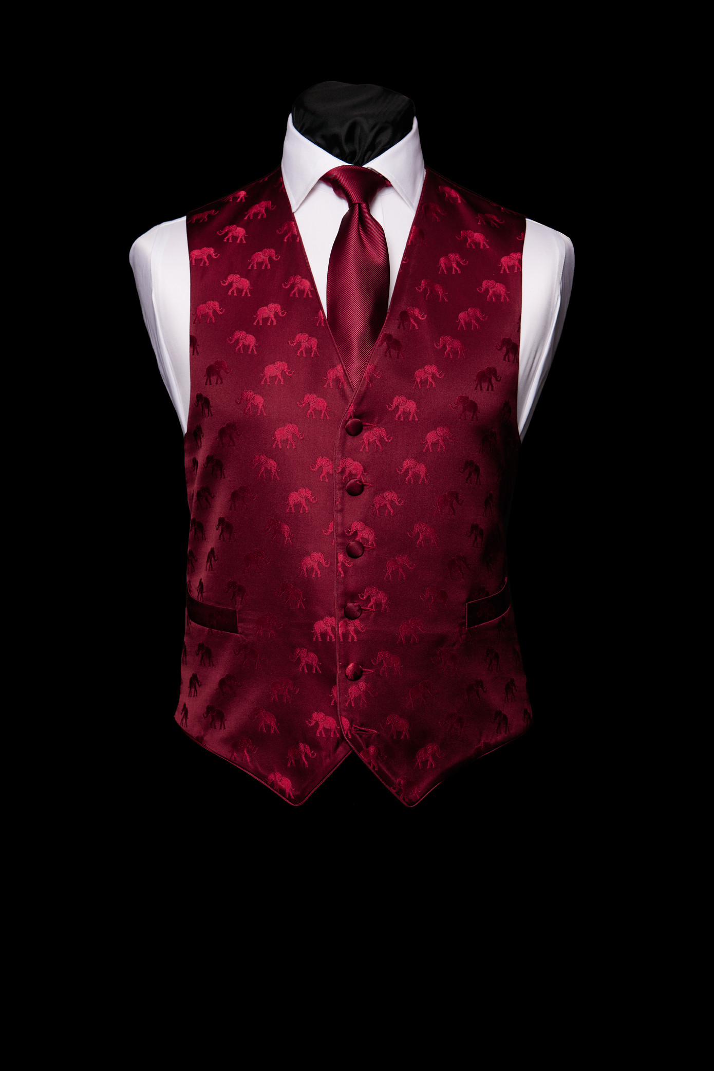 Burgundy silk elephant waistcoat with silk piping