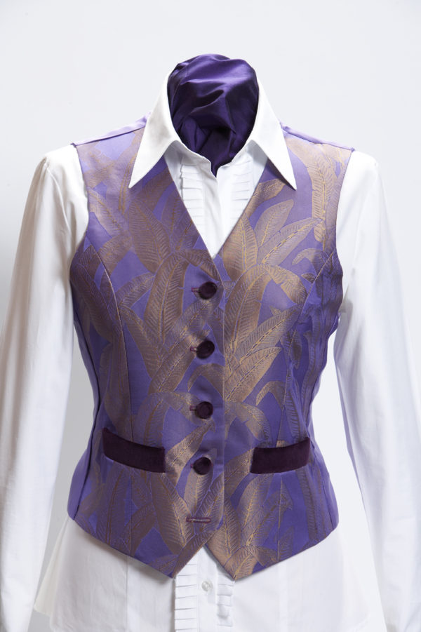 Ladies lilac banana leaf silk waistcoat with purple velvet pockets and buttons