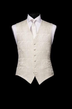 Single-breasted ivory silk vintage paisley waistcoat