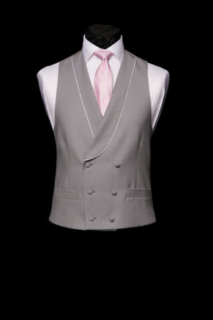 Dove grey wool double-breasted waistcoat with piping