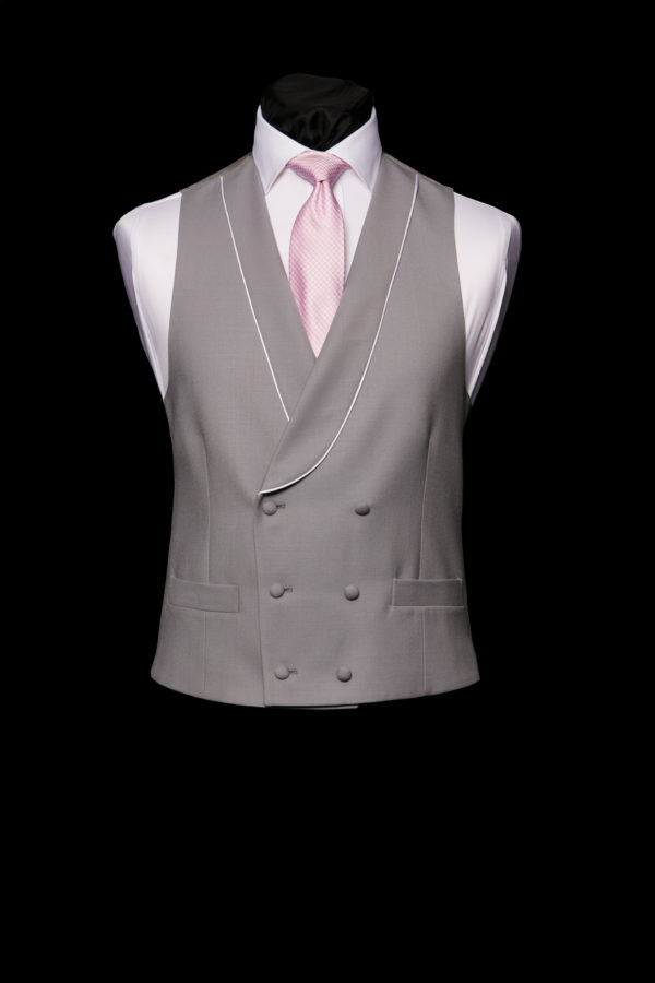 Grey double breasted wool waistcoat with ivory silk piping