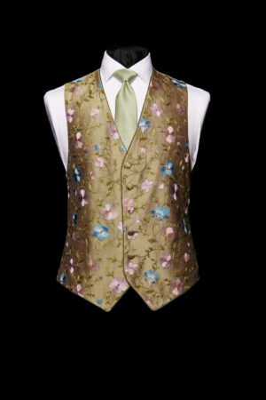 Olive green silk embroidered waistcoat with purple and blue embroidery and piping