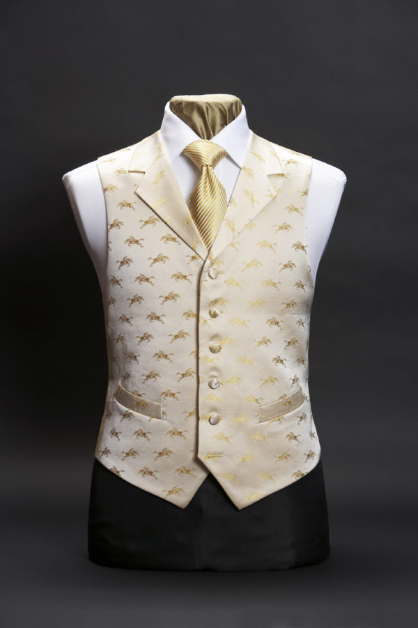 Cream silk waistcoat with gold horses and lapels