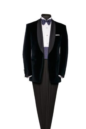 Navy blue velvet shawl-collar dinner jacket with midnight blue silk satin lapels
