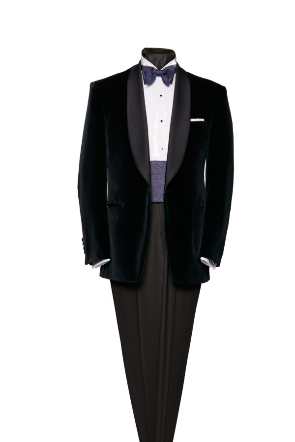 Navy blue velvet shawl collar dinner jacket