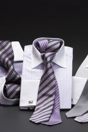 White-collar and cuff two-fold superfine cotton shirts
