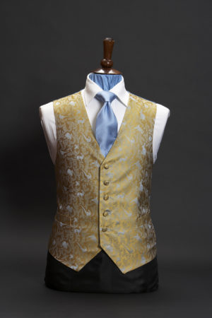 Gold silk waistcoat with blue hares and pheasant