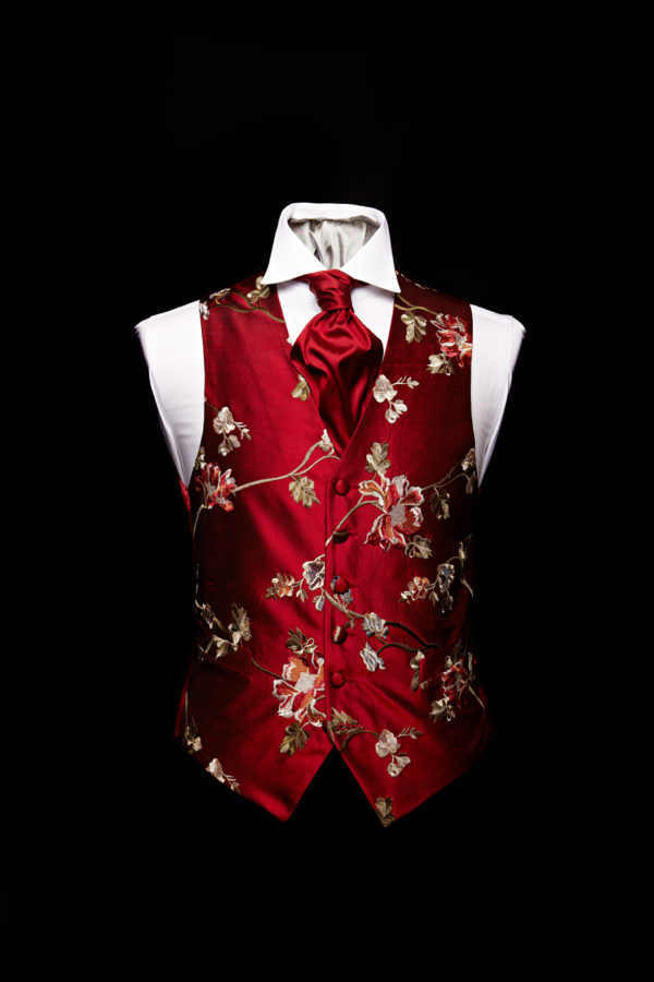 Burgundy silk embroidered floral design waistcoat Limited Edition