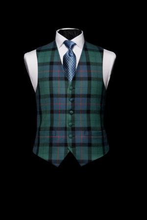 Green and blue tartan wool waistcoat