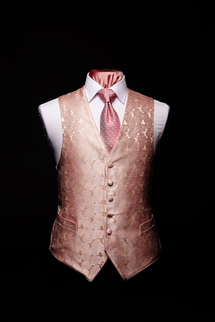 Pink and ivory silk roses waistcoat and pink silk piping Ref
