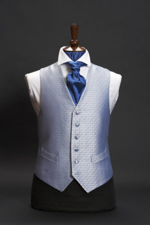 Blue diamond pattern lurex single breasted silk waistcoat