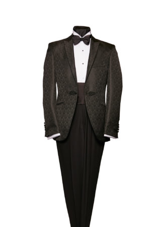 Black silk and wool brocade dinner jacket