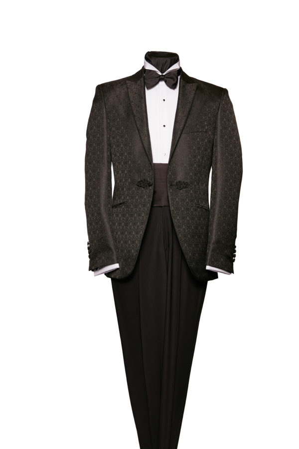 Black brocade dinner jacket