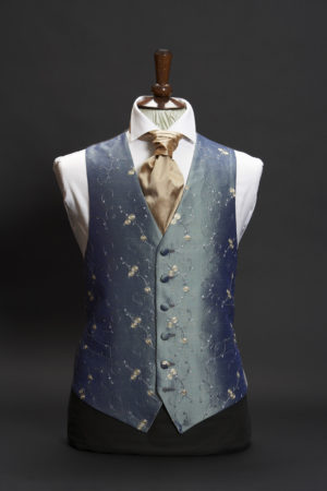 Petrol blue silk waistcoat with gold ball embroidery